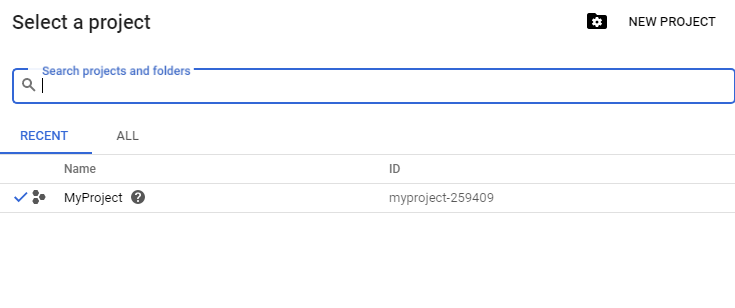 Select project google API